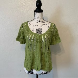 Notations Green Crochet Cardigan Sweater Shrug